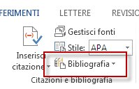 Creare una bibliografia in Word 2013.