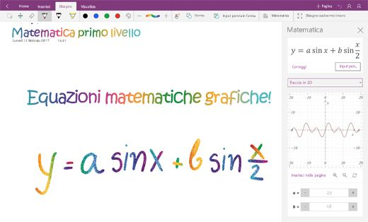 Equazioni matematiche in OneNote per Windows 10