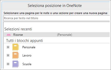 Screenshot della finestra di OneNote in cui è possibile scegliere in quale pagina inserire le note di Skype.