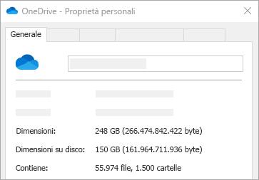Proprietà Dimensioni su disco di OneDrive