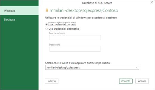 Credenziali di accesso della connessione a SQL Server di Power Query
