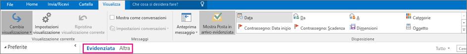 Le schede Evidenziata e Altra sono visualizzate nella parte superiore della Posta in arrivo quando si seleziona Mostra Posta in arrivo evidenziata