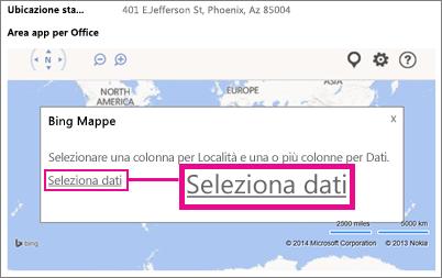 Selezione dei dati per un'app Bing Maps per Office in un'app Access