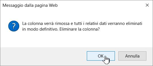 Finestra di conferma dell'eliminazione in cui fare clic su OK per eliminare