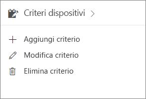 Scheda Criteri dispositivi nell'interfaccia di amministrazione