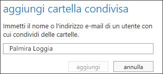 Finestra di dialogo Aggiungi cartella condivisa di Outlook Web App