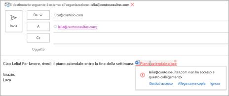 Mostra i nomi intuitivi dei collegamenti per i documenti allegati