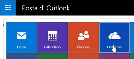 Schermata del riquadro OneDrive nell'icona di avvio delle App.