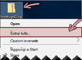 Fare clic con il pulsante destro del mouse sul file ZIP compresso per estrarre un file.