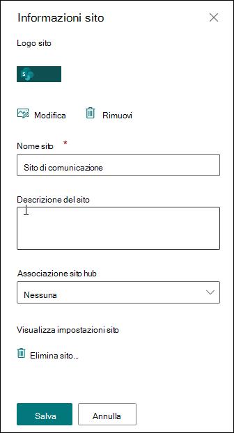 Riquadro Informazioni sito di SharePoint