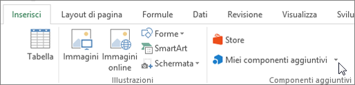 Screenshot di una sezione della scheda Inserisci sulla barra multifunzione di Excel con un cursore che punta ai miei componenti aggiuntivi. Selezionare i miei componenti aggiuntivi per accedere ai componenti aggiuntivi per Excel.