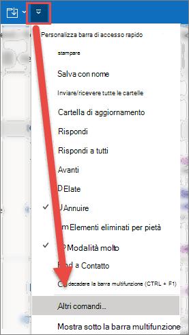 Il menu Personalizza barra di accesso rapido è aperto, con una freccia che punta all'opzione altri comandi.