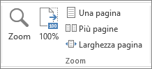 Gruppo Zoom nella scheda Visualizza