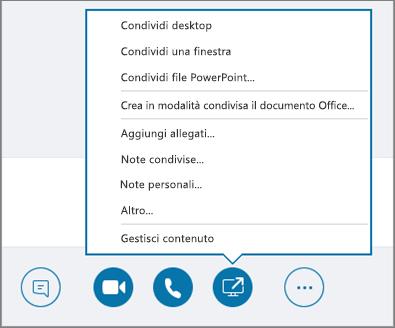 Screenshot del menu Condividi contenuto aperto.