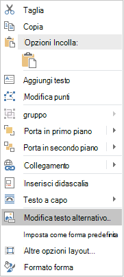 Menu Modifica testo alternativo per le forme in Word Win32