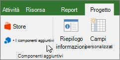 Schermata della sezione della scheda progetto sulla barra multifunzione con un cursore che puntano al mio elenco a discesa componenti aggiuntivi. Selezionare i componenti aggiuntivi per selezionare un componente aggiuntivo utilizzato di recente, gestire tutti i componenti aggiuntivi o visitare Office Store per i nuovi componenti aggiuntivi.