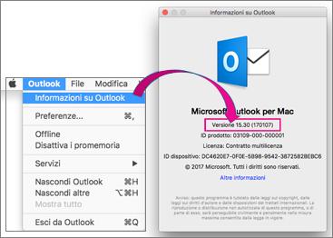 Selezionare Outlook informazioni su Outlook per trovare la versione in uso