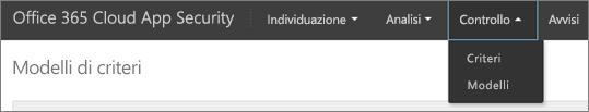 Nel portale di Office 365 CA, scegliere controllo