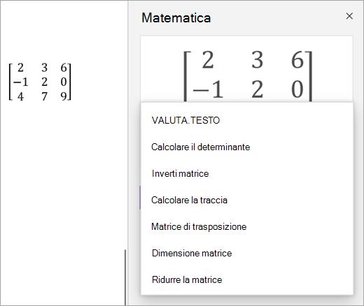 Opzioni di soluzione per le matrici