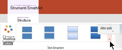 In Strumenti SmartArt selezionare la freccia altri stili per aprire la raccolta stili SmartArt