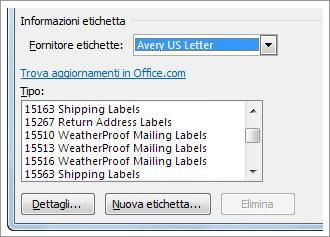 opzioni di fornitore etichette e numero di prodotto