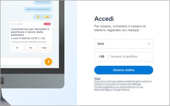 Screenshot della pagina di accesso Web di Kaizala