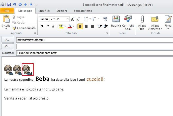 Due versioni della stessa firma di posta elettronica: la prima in un messaggio con formattazione HTML, la seconda in un messaggio di testo normale