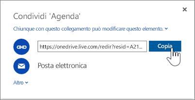 Screenshot dell'opzione URL di collegamento nella finestra di dialogo Condividi di OneDrive
