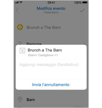 Schermata di annullamento con posizione in cui aggiungere un messaggio