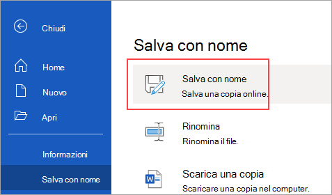 Salvare una copia in OneDrive