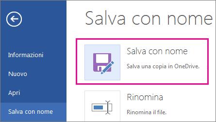 Salvare una copia in OneDrive