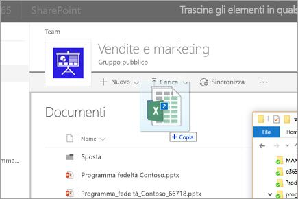 Trascinare un file in una raccolta documenti di SharePoint