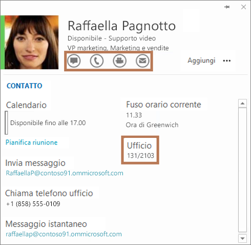 Scheda contatto di Skype for Business