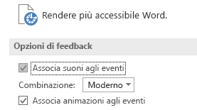 Visualizzazione parziale delle impostazioni di accessibilità di Word