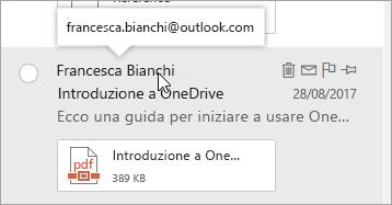 Screenshot del cursore posizionato sul nome del mittente