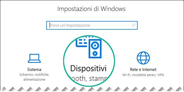 Selezionare Dispositivi nella finestra di dialogo Impostazioni di Windows