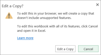 Messaggio per modificare una copia