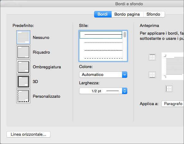 Personalizzare bordi nella finestra di dialogo Bordi e sfondo.