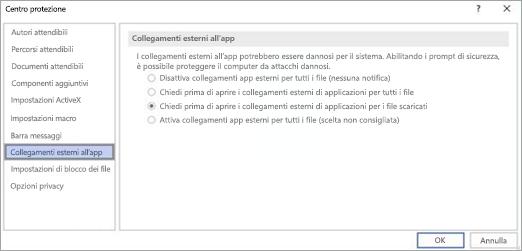 Scegliere l'opzione che si vuole usare in Visio per i collegamenti all'app esterna.