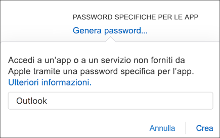 Immettere un nome per la password dell'app