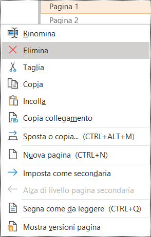 Finestra di dialogo Elimina pagina in OneNote per Windows