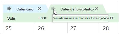Fare clic sulla freccia in modalità Side-by-Side Visualizza calendari