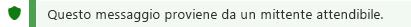 Screenshot della notifica del mittente attendibile.