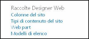 Opzioni di Raccolte Designer Web nella pagina Impostazioni sito in SharePoint Online