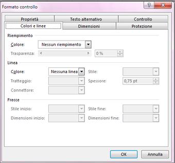 opzioni della finestra di dialogo Formato controllo