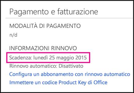 Dettagli sul rinnovo dell'abbonamento nella pagina Account di Office 365.