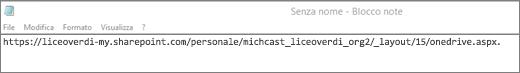 Incollare l'URL in un'applicazione come il Blocco note.