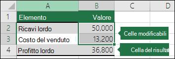 Scenario - Configurazione di uno scenario con celle variabili e celle risultato