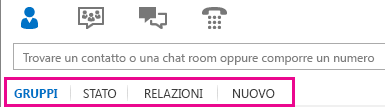 Immagine delle schede di visualizzazione selezionate sotto l'area di ricerca della finestra principale di Lync