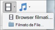 Schermata mostra il Browser filmato e filmato da opzioni File disponibili dal controllo elenco a discesa Video. Selezionare un'opzione per inserire un filmato in una presentazione di PowerPoint.